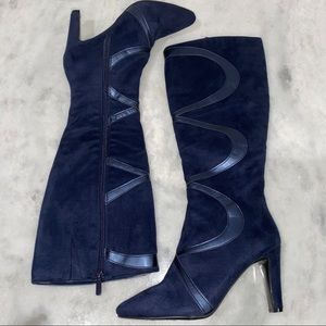 IMPO STRETCH TABO SIZE 6 SASSY NAVY HEELED BOOTS